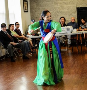 Following the barbeque lunch, there was a special performance by a traditional Korean dance group.