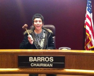 Barros at his post as Chairman of the City of Lancaster Youth Commission.