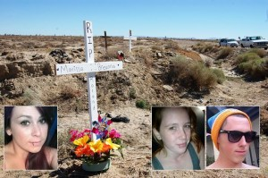 The cross joined another cross for the three other people killed in the collision. (L to R) Marissa Fritz, Breanna Heyrend, and Roland Mohan.