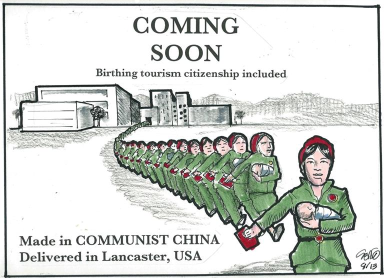 Birthing tourism cartoon feature