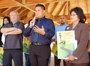 Cesar Miguel Vega Magallon spoke on behalf of the Antelope Valley Dream Team, a local group of undocumented students, workers and allies.