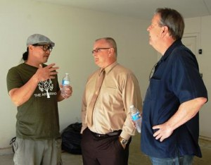 L to R) The Art Branch Founder Jimmy Lu, Palmdale City Councilmember Tom Lackey, and Palmdale Mayor Jim Ledford break for a chat at the 'Gabriel's House' Volunteer Work Day.