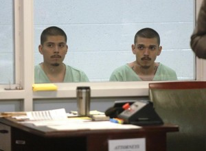 Jesus and Carlos Peralta at their first court appearance on Sept. 6, 2013. (TONY CHEVAL)