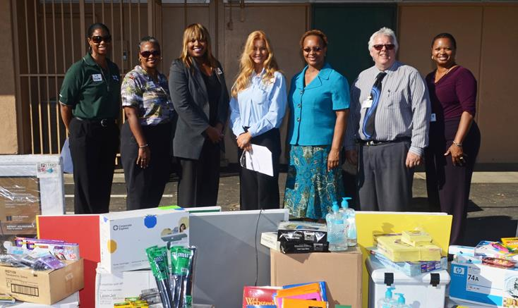 (L to R) Three Northrop Grumman reps, Michelle Webb (Northrop Grumman), Janice Forte-Watson (Principal, Linda Verde School), Rick Filloon (Principal, Linda Verde Center), and Dr Michele Bowers (Superintendent, Lancaster School District).