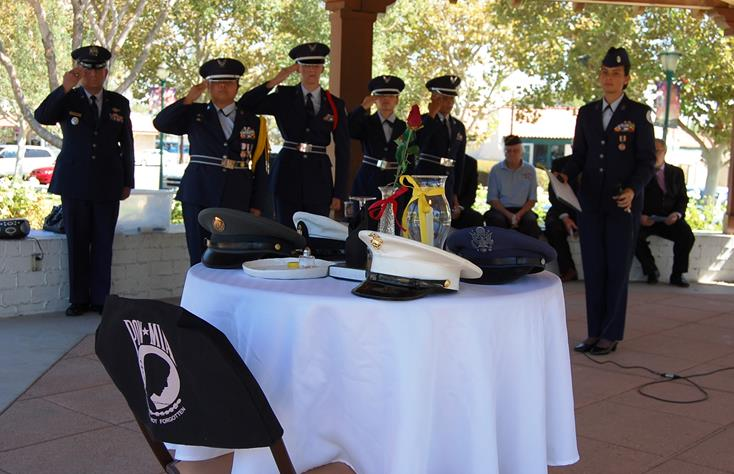 A table ceremony to honor prisoners of war in each branch of the military was conducted by Highland High School AFJROTC, led by Major Conrad Hernandez.