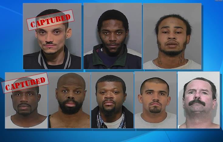 (Top row: Paroled gang members, L to R) Romie Seals, William Collin, William Allen. (Bottom row: High-risk sex offenders, L to R) Reahdeen Robertson,  Tyrone Williams, Kenneth Johnson, Jose Sanchez, Daniel Gilmore.