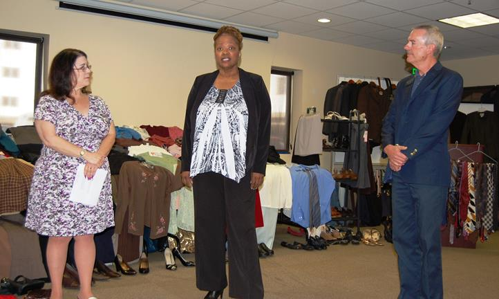 (L to R) Mental Health America Executive Director Judy Cooperberg, MHA member Harriet Johnson, and GAVAR President Roe Leer. Johnson is suited for success, thanks to MHA's Employment Clothes Closet. The program recently received more than 400 items of professional apparel from GAVAR and the Rotary Club of Lancaster.