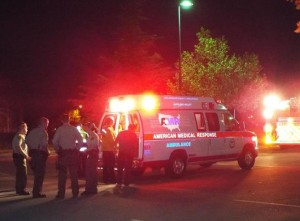 The 13-year-old girl was transported to a local hospital with an injury to her leg, while the 14-year-old boy was airlifted to a Los Angeles hospital in critical condition. (Photo by LUIS MEZA)