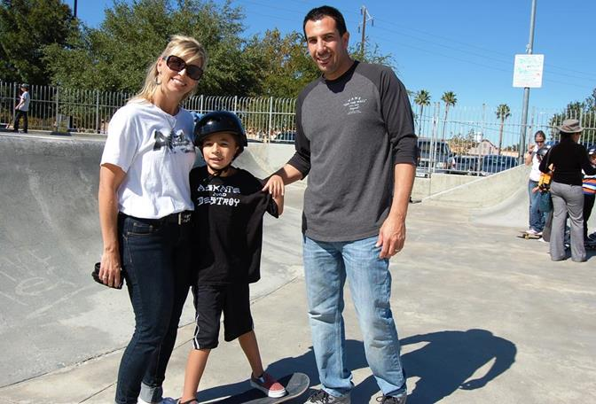 Jennifer Slater-Sanchez (with son, Jacob, and husband, Danny) coordinated the fundraising effort to bring the A.skate clinic to the Antelope Valley.