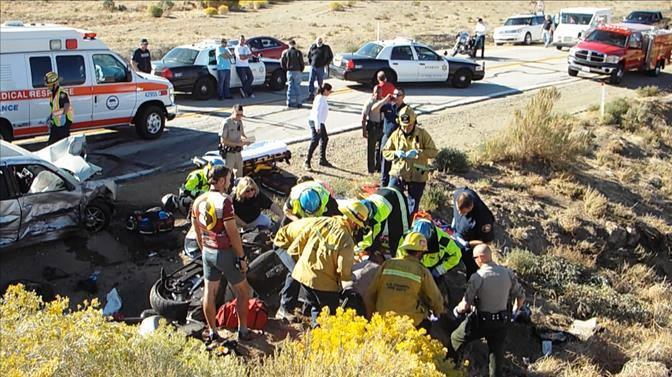The fatal collision happened around 3:10 p.m. Saturday, Oct. 19 at a sharp curve on Elizabeth Lake Road, just east of Godde Hill Road. (Photo by LUIS MEZA)