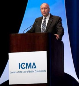 Palmdale City Manager Dave Childs speaking at the ICMA Annual Conference in Boston.