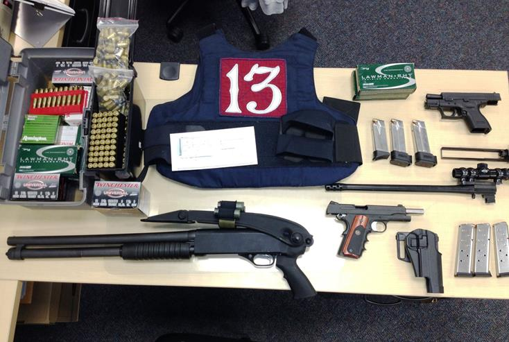 These items were seized when gang detectives raided a Palmdale home in the 1200 block of East Avenue R. David Marquez  was arrested for shooting multiple rounds at a car parked near a Lancaster home. (Photo courtesy LASD)