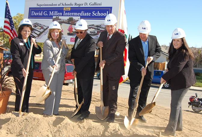 (L to R) Sandy Corrales Eneix, Carol Stanford, Bob Rodrigo, Norm Hickling, Jim Ledford, and Pauline Winbush  shovel the first scoops of dirt at the ceremonial groundbreaking for David G. Millen Intermediate.