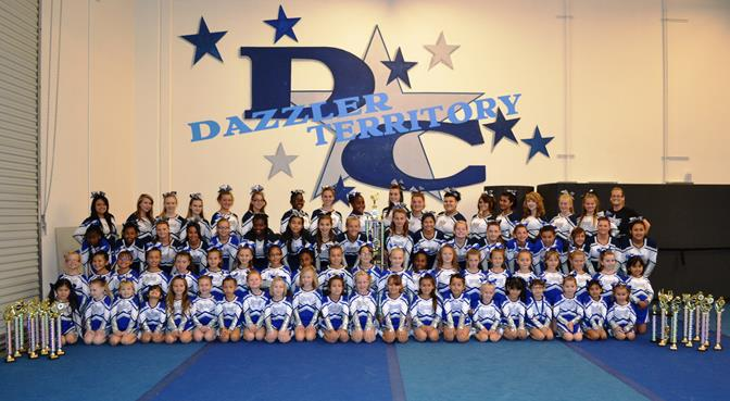 """Pictured are 78 of the 130 Dazzler Cheerleaders who won big at a recent cheer competition. The event was a """"give back"""" competition, and Dazzler Cheer donated its proceeds to S.A.V.E.S. (Photo by Jayme Burgdorf)"""