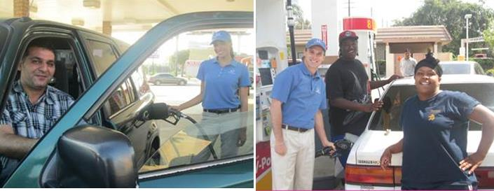 Helpful Guys in Blue surprise drivers with complimentary tanks of fuel when gas prices rise. (Contributed)