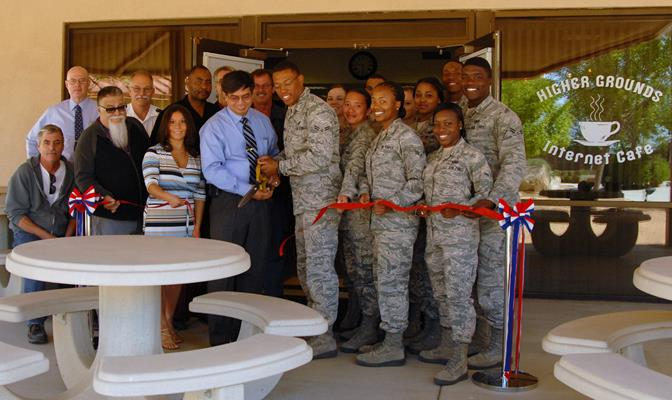 Higher Grounds was reopened May 20, 2011 in Bldg. 2511 - a more centralized location for Airmen living in the dorms. (U.S. Air Force photo by Kenji Thuloweit)