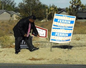 """PSD Board President Sandy Corrales-Eneix said the sign was a """"desperate"""" and """"mean-spirited"""" tactic. (JEFF FERRIN)"""