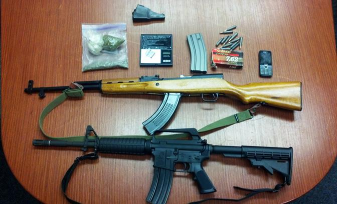 These items were discovered when deputies conducted a traffic stop on the 14 Freeway near Avenue S Monday night. Driver Nelson Soriano was arrested. (Photo courtesy LASD)
