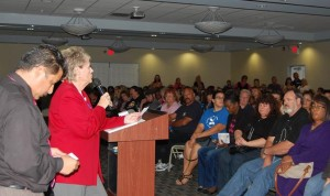 Speaking at a packed community forum Wednesday, Smith said PSD officials misrepresented the budget to their advantage.