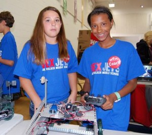 (L to R) VEX Jets team member Katie Chaisson-Doull and captain Lari Smith.