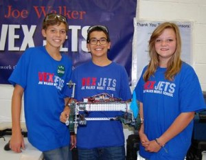(L to R) VEX Jets team members Cole Barnett, Lucas Vasquez and Karleen Holts.