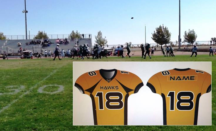 (Contributed photo of the Knight Hawks Youth Football team at play, and a sample of the jerseys which were paid for but never delivered.)