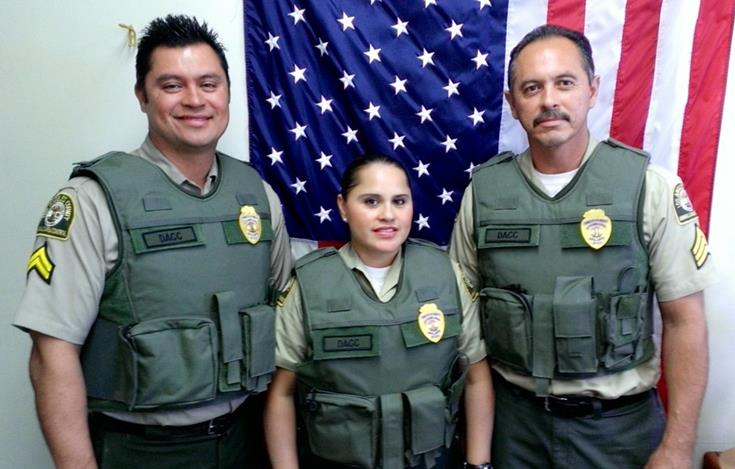 The protective vests will be used by animal control officers when assisting with special operations, search warrant service and dog pack sweeps. (Photo of Downey Animal Care officers courtesy DACC)