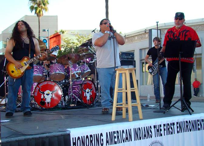 The all Native American blues band, Blue Mountain Tribe, performed at the 10th Annual Red Nation Film Festival in North Hollywood, Calif., Nov. 2. Of the five band members, Robin (center) and Caleb Hairston (left) work at Edwards Air Force Base, Calif. as Depatment of Defense employees. (Photo by Paris Hairston)