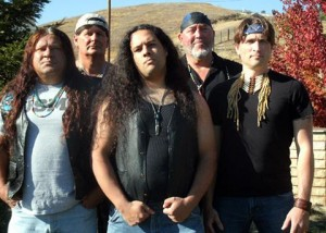 Blue Mountain Tribe consists of (L to R) Robin Hairston, Mark Jodoin, Caleb Hairston, Yaqui Joe Sandoval, and James Bixler.