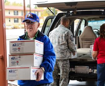 The group visited Edwards AFB Nov. 21 to deliver care packages for deployed Airmen. (U.S. Air Force Photo by Rebecca Amber)