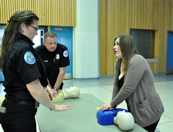 Chana Alexander (left) taught Hands-Only CPR at the MLK Day of Service in Lancaster this past January.