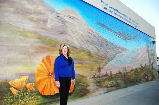 Lancaster artist and veteran Melinda Vetter-Dorsey designed and painted the mural, which is located on the outside wall of the Chase bank at 805 West Lancaster Boulevard. Vetter-Dorsey said she was assisted by Army veteran Cleo Ware and Air Force veteran Linda Reynolds.