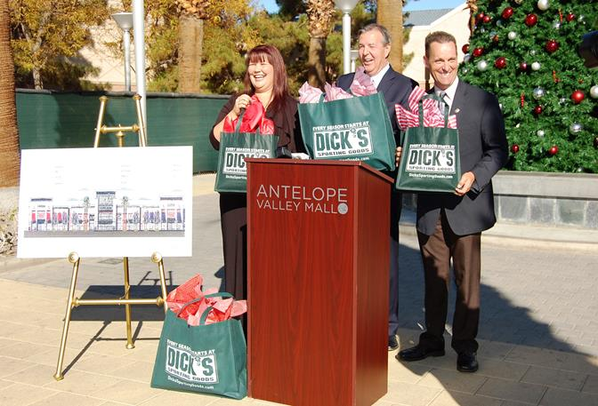 (L to R) Antelope Valley Mall Marketing Director Tricia Granger, Palmdale Mayor Jim Ledford and State Senator Steve Knight share a laugh at a press conference at Antelope Valley Mall Wednesday to announce the redevelopment of the Harris/Gottschalks building and plaza.