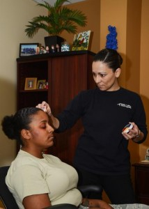 Staff Sgt. Samón Carver was one of 23 volunteers that wore made-up injuries to bring more awareness about domestic violence to the Edwards community. (Rebecca Amber)