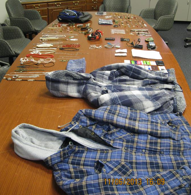 Several of the stolen items were recovered at a Lancaster hotel, where one of the suspects was staying, authorities said. One of the home burglaries occurred last week, while the 76-year-old victim was sleeping inside her home. (Photo courtesy LASD)