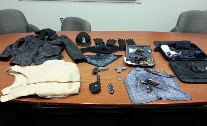 These items were recovered from the suspects' vehicle, which was found to be an unreported stolen vehicle out of Palmdale. (Photo courtesy LASD)