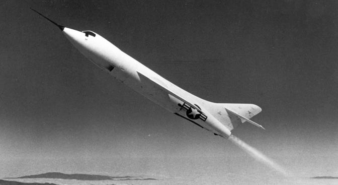 One of the three Douglas Skyrockets rockets upward during a research flight. (Courtesy NASA)