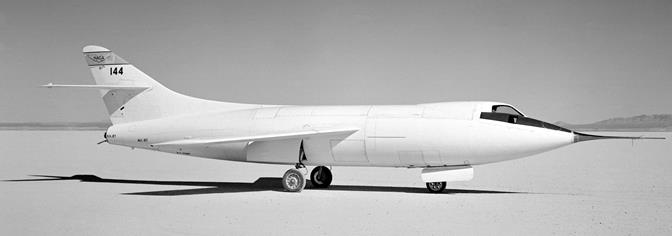 Douglas Skyrocket No. 144 on Rogers Dry Lake at Edwards after modifications for it to fly on only rocket power. (Courtesy NASA)