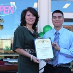 The new downtown Lancaster location is owned by Maribel's son, Nick Parada (right), shown with Lancaster City Councilmember Sandra Johnson.