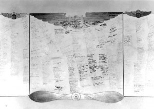 An original photograph of the Muroc Manor signature wall which is on display at Club Muroc in Pancho's Bar.  (U.S. Air Force courtesy photo)
