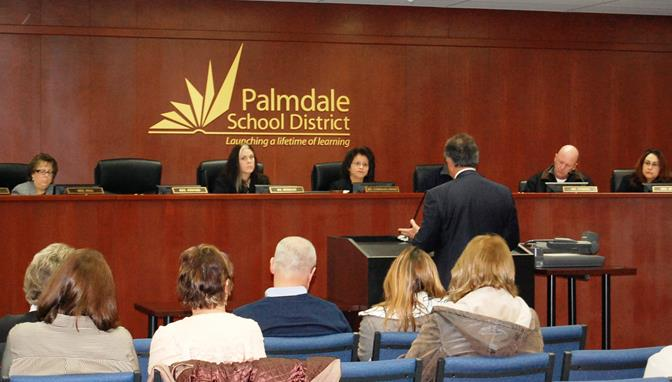 The District's legal counsel Framroze Virjee speaks at a Special Board Meeting Friday morning to consider a resignation agreement for Palmdale School District Superintendent Roger Gallizzi.
