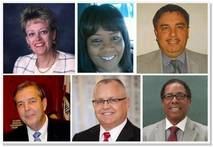 (Top L to R) Nancy Smith, Joyce Ricks and Juan Carrillo top the list for Palmdale School Board. (Bottom L to R) Jim Ledford got more that 60% of the votes for Mayor of Palmdale, while incumbent Tom Lackey and challenger Fred Thompson top the list for city council.