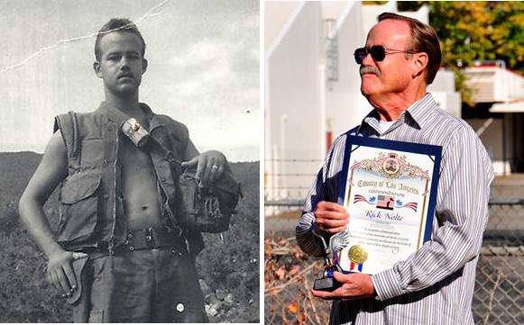 Rick Nolte, U.S. Navy, attached to the U.S. Marine Corps, Vietnam. U.S. Navy veteran Rick Nolte spent his 21st birthday going through a fierce firefight on the front lines in the outskirts of Da Nang in Vietnam.  Rick was the head corpsman attached to the 3rd Battalion, 26th Marine Regiment and the 1st Medical Battalion in Vietnam.  After his military service, Nolte spent 34 years with the L.A. Co. Sheriff's Department in the Antelope Valley. Read Rick Nolte's story here.