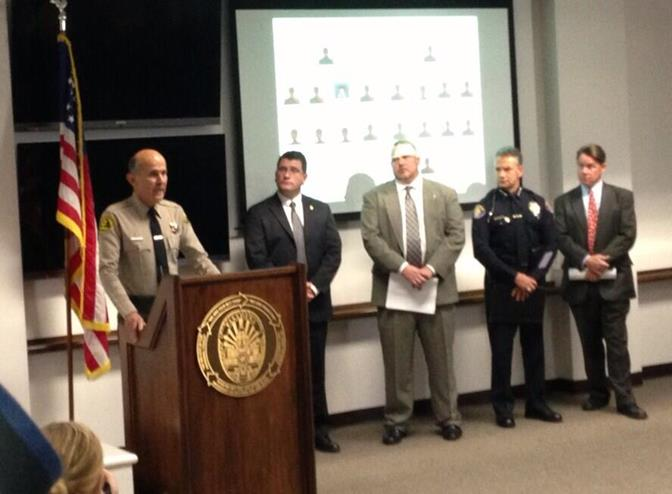 Sheriff Baca speaks at a press conference Thursday, Dec. 12 to announce the takedown of a drug trafficking network and the seizure of 60.5 pounds of methamphetamine, 6 pounds of tar heroin and 5 pounds of powder cocaine with a street value exceeding $2.5 million. (Courtesy LASD)