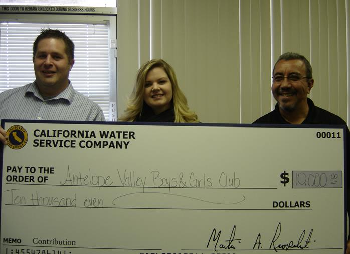 (L to R) Justin Skarb, Cal Water; Stacey Cantwell, Boys & Girls Club; Jose Ojeda, Cal Water. (Contributed photo)