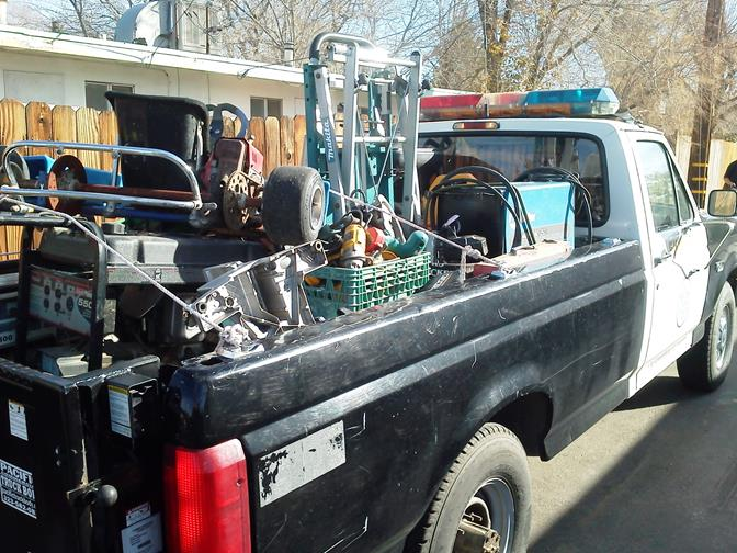 Deputies hauled away truckloads of equipment believed to be stolen from local construction sites. Suspected thief, Wayne Willis, was arrested for grand theft. (Photos courtesy LASD)
