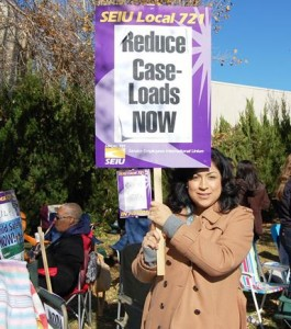 Children's social workers should each have under 18 cases, however, some have as many as 40 cases, the protesters said.