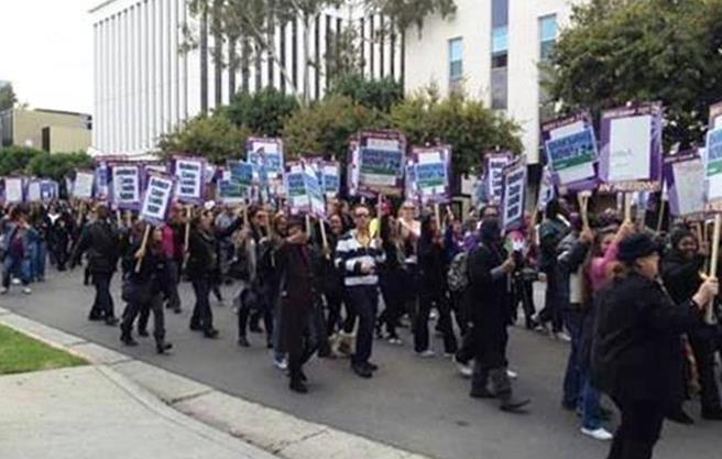 Children's social workers from the DCFS offices in Lancaster and Palmdale joined more than 1,800 social workers in Los Angeles on Friday in demonstration in front of the DCFS headquarters in Los Angeles to demand fewer case loads. (Contributed photo)