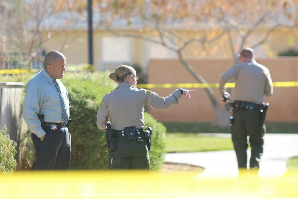 Deputies on Sunday found a broken window, blood on the door and a dead man inside one of the units at the Sierra View Gardens Complex in the 37800 Block of 20th Street East in Palmdale. (Photo by TONY CHEVAL)