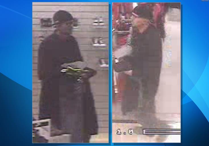 Loss prevention at Dillard's gave the Palmdale Sheriff's Station these two images of the suspected thief who used a stolen credit card at the store after a nearby vehicle break-in. (LASD)